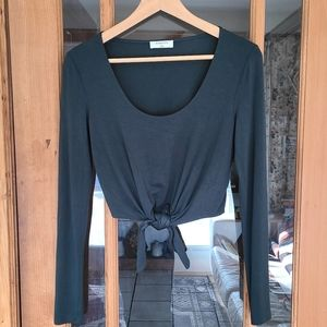 Babaton Forest Green Long Sleeve Crop Tie Top XS